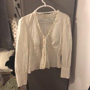 White long sleeve ruffle blouse